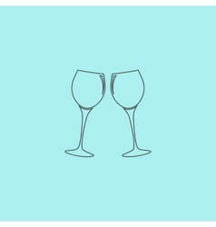 Two glasses of wine or champagne icon vector image