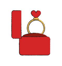wedding ring in box vector image