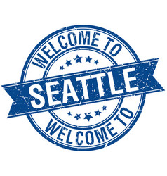 Welcome to seattle blue round ribbon stamp vector