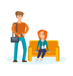 young couple walking through the mall vector image