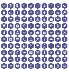 100 flowers icons hexagon purple vector