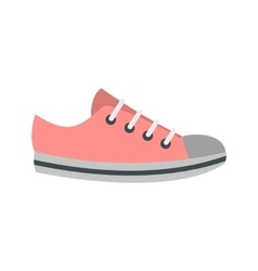 Pink sneakers icon flat style vector