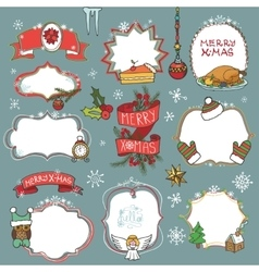 Christmas season doodle symbols with badges vector