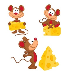 Mouse and cheese in a variety of actions vector