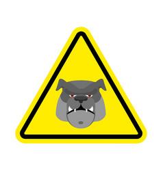 Angry dog warning sign yellow bulldog hazard vector