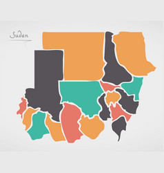 Sudan map with states and modern round shapes vector