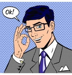 Successful businessman saying okay in vintage pop vector