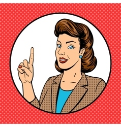Woman point finger gesture pop art vector