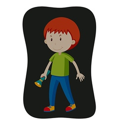Boy carrying flashlight in the dark vector