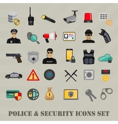 Security icons set police law and crime vector
