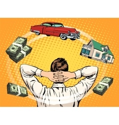 Business dreams buyer home car income money vector