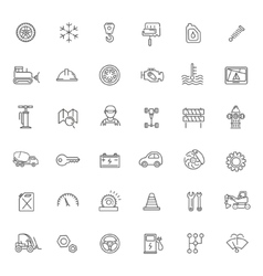 Outline icons car parts and services vector
