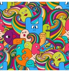 Seamle pattern funny monsters graffiti hand vector