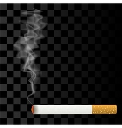 Burning cigarette on checkered background vector
