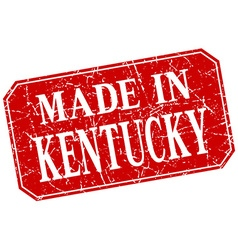 Made in kentucky red square grunge stamp vector