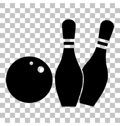Bowling sign  flat style black icon vector