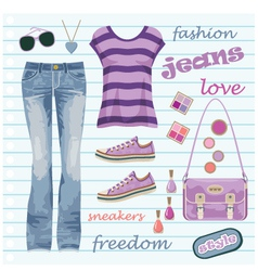 Jeans fashion set vector