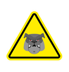 angry dog warning sign yellow bulldog hazard vector image