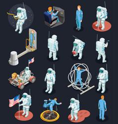 Astronauts isometric characters set vector