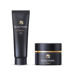 black pearl night face or hand cream bottle tube vector image vector image