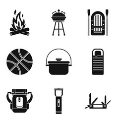 Bowler icons set simple style vector
