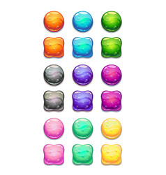 Colorful round and square cartoon buttons set vector