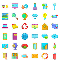 Computer site icons set cartoon style vector