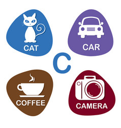 Cute alphabet in c letter for cat car vector
