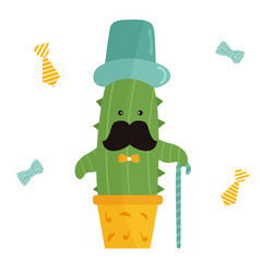 Cute mister cactus vector