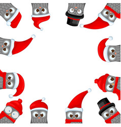 frame from christmas owls in the santa claus hat vector image