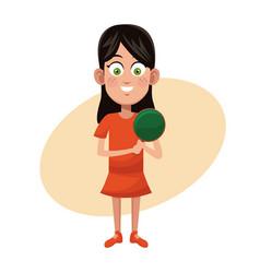 Girl sport ping pong practice vector