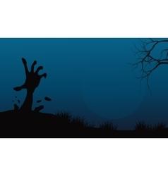 Halloween hand zombie in land vector image vector image