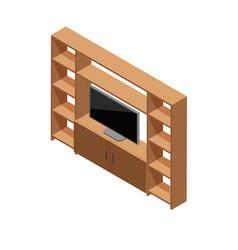 Isometric tv shelf vector