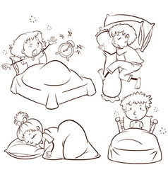 Kids sleeping and waking up vector image