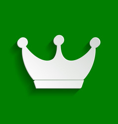 King crown sign paper whitish icon with vector