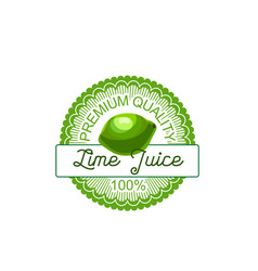 lime fruit label of natural lemon and citrus juice vector image vector image