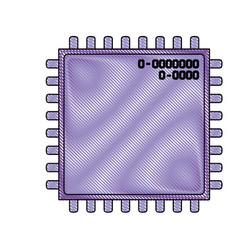 microchip closeup icon in color crayon silhouette vector image