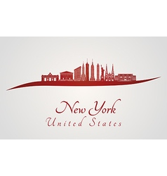 New York skyline in red vector image