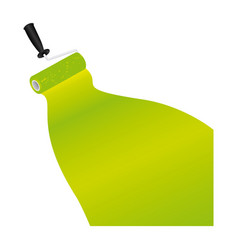 paint roller with stroke of paint green vector image vector image