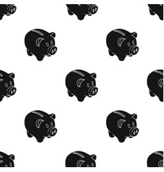 Piggy bank icon in black style isolated on white vector
