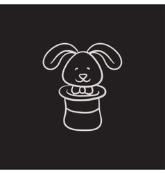 Rabbit in magician hat sketch icon vector image vector image