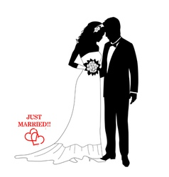 Romantic couple silhouettes with a sign vector image