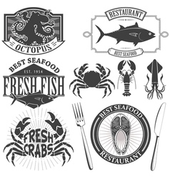 seafood bar vector image vector image