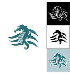 Seahorse on the wave of the logo vector