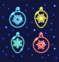 set of neon christmas bauble line icons vector image vector image