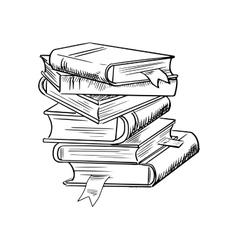 Stack of books with bookmarks vector image