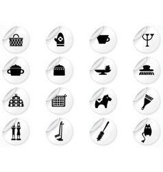 stickers with kitchen icons vector image