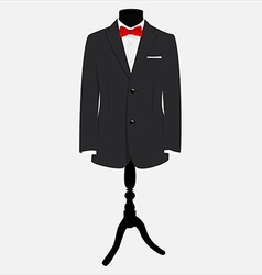 Suit with red bow tie vector image
