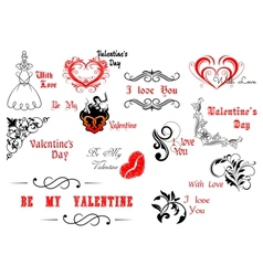 Valentines Day calligraphic and decorative vector image vector image