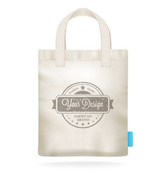 white canvas mockup realistic shopping bag vector image vector image